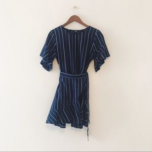 Express • Striped Flutter Sleeve Faux Wrap Dress
